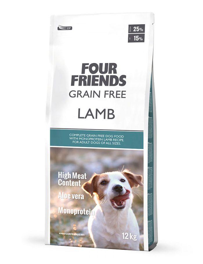 Four Friends Grain Free Lamb 12 kg. Spannmålsfritt torrfoder för hundar baserat på monoprotein, lamm, som är perfekt vid känslig mage eller eliminationsdieter.