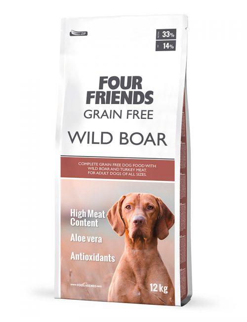 Four Friends Grain Free Wild Boar 12kg. Spannmålsfritt torrfoder för hundar baserat på till största del vildsvin, som har en bra profil av aminosyror.