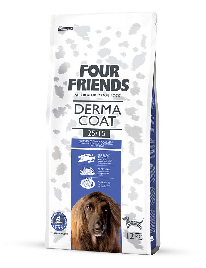 Four Friends Adult Derma Coat 12 kg. Glutenfritt torrfoder avsedd för att bidra till välmående päls och hud. Med aloe vera och hög halt laxkött.