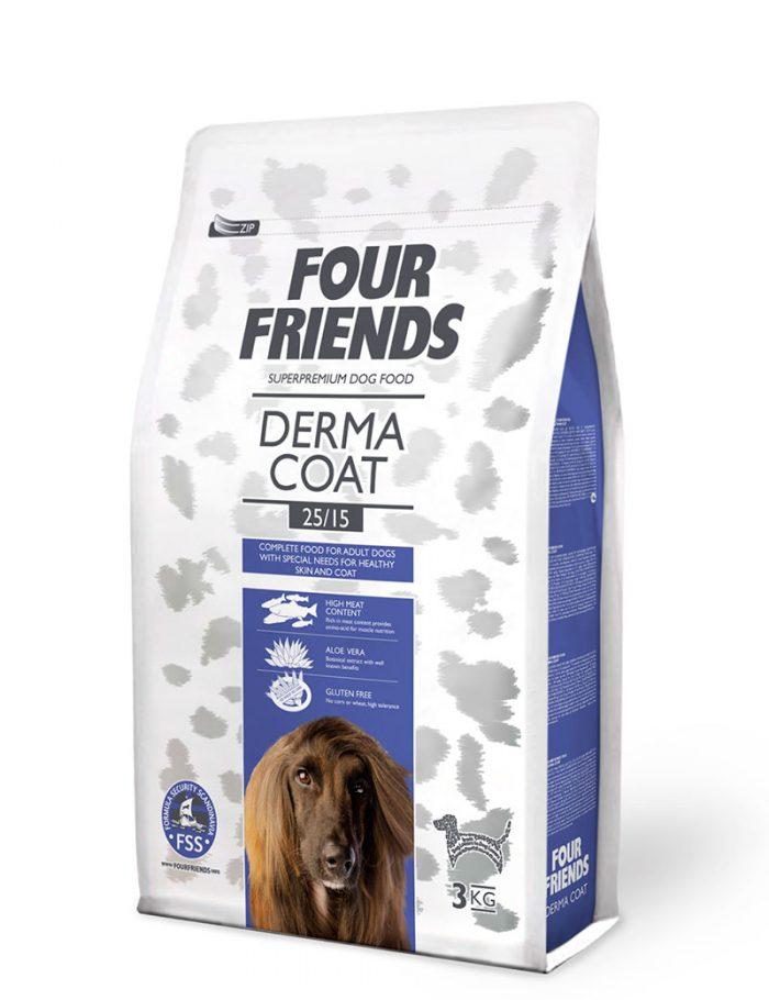 Four Friends Adult Derma Coat 3 kg. Glutenfritt torrfoder avsedd för att bidra till välmående päls och hud. Med aloe vera och hög kötthalt.