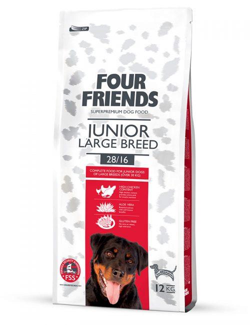 Four Friends Junior Large Breed 12 kg. Glutenfritt torrfoder för unga större hundraser med aloe vera och hög halt kycklingkött.