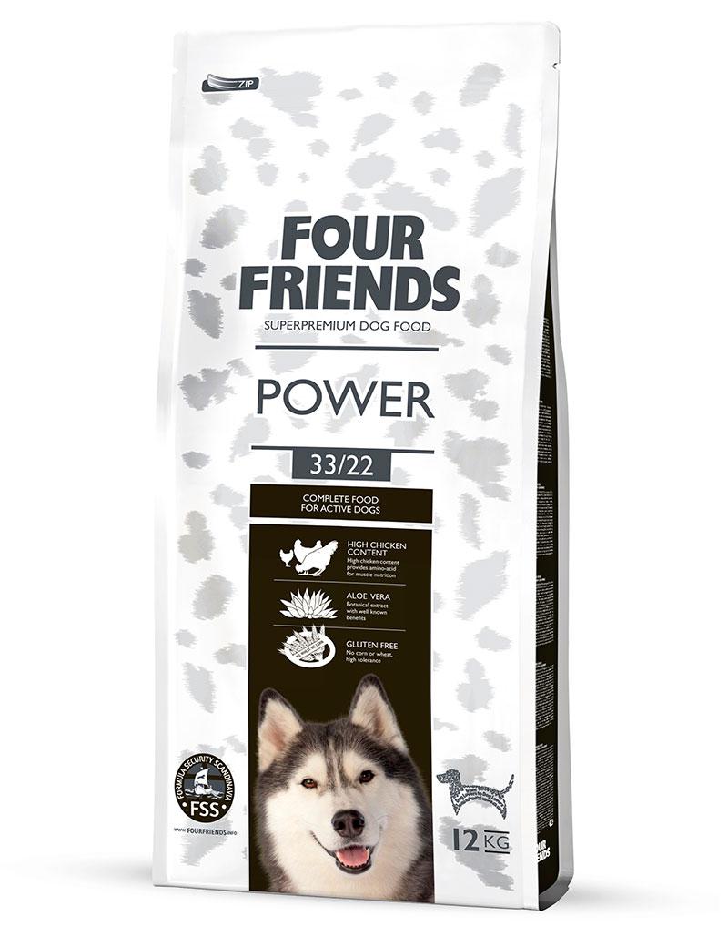 Four Friends Power 12 kg. Glutenfritt torrfoder för aktiva hundar med aloe vera och mycket kalorier.