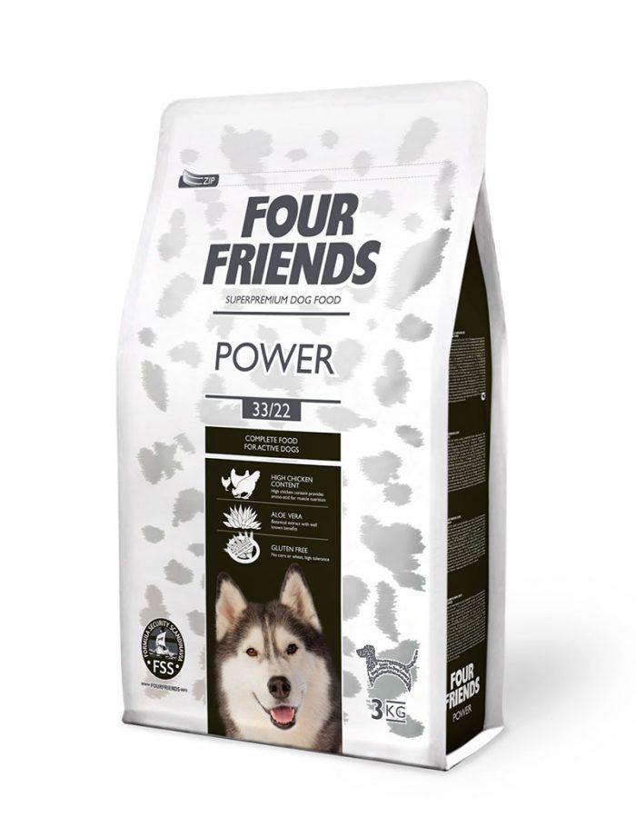 Four Friends Power 3 kg. Glutenfritt torrfoder för aktiva hundar med aloe vera och mycket kalorier.