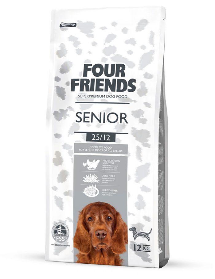 Four Friends Senior 12 kg. Glutenfritt torrfoder för äldre hundar innehållande lite färre kalorier.