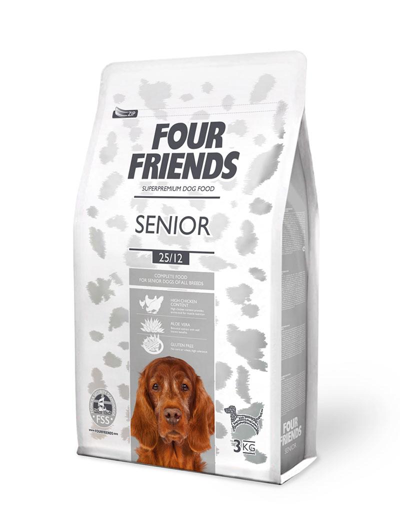 Four Friends Senior 3 kg. Glutenfritt torrfoder för äldre hundar innehållande aloe vera.