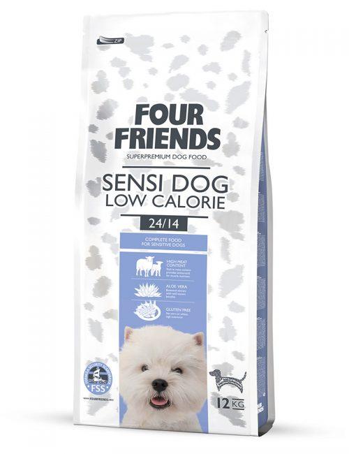 Four Friends Sensi Dog Low Calorie 12 kg. Glutenfritt torrfoder med lägre kaloriinnehåll för en lågaktiv och känslig hund.