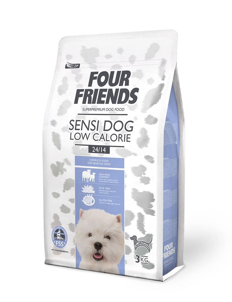 Four Friends Sensi Dog Low Calorie 3 kg. Glutenfritt torrfoder med lägre kaloriinnehåll för en lågaktiv och känslig hund.