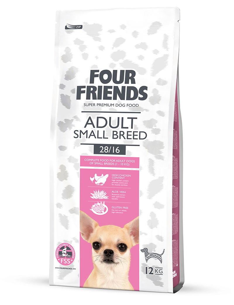Four Friends Adult Small Breed 12 kg. Torrfoder för vuxna men något mindre hundraser.