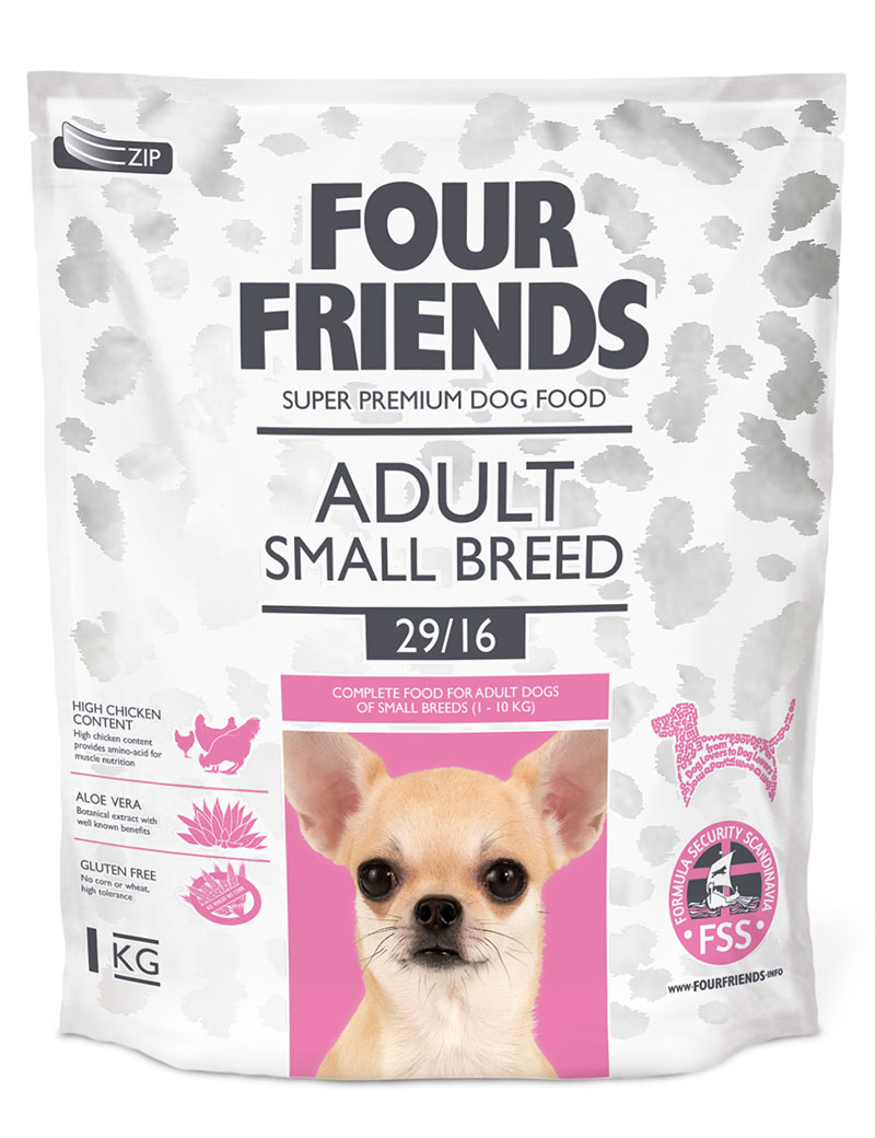 Four Friends Adult Small Breed 1 kg. Torrfoder för vuxna men något mindre hundraser.