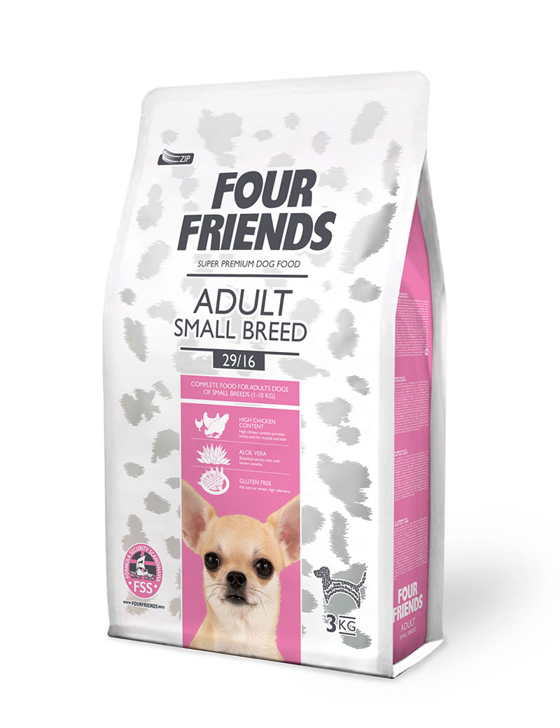 Four Friends Adult Small Breed 3 kg. Torrfoder för vuxna men något mindre hundraser.