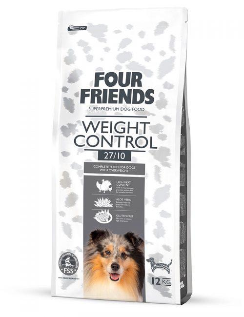 Four Friends Weight Control 12 kg. Torrfoder avsett för överviktiga hundar, med högt proteininnehåll för bibehållen muskelmassa.