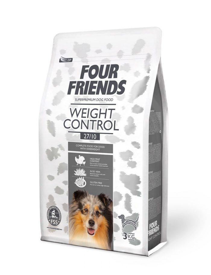 Four Friends Weight Control 3 kg. Torrfoder avsett för överviktiga hundar, med högt proteininnehåll för bibehållen muskelmassa.