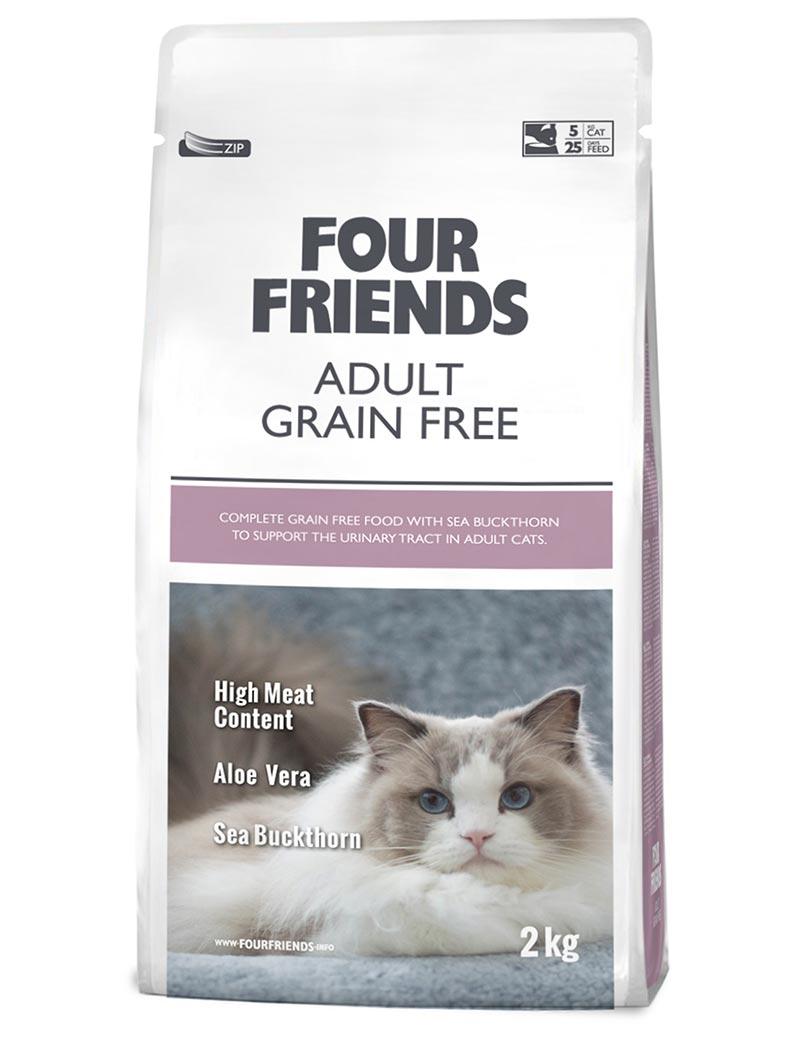 Four Friends Adult Grain Free 2 kg. Spannmålsfritt torrfoder till vuxen katt med hög kötthalt, aloe vera och havtornsextrakt.