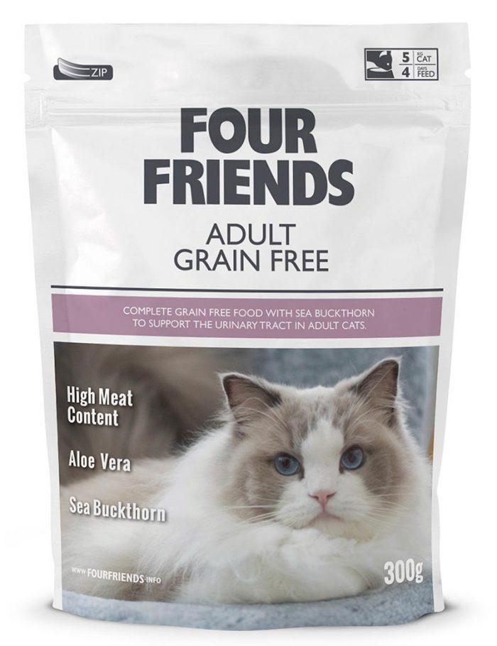 Four Friends Adult Grain Free 300 g. Spannmålsfritt torrfoder till vuxen katt med hög kötthalt, aloe vera och havtornsextrakt.