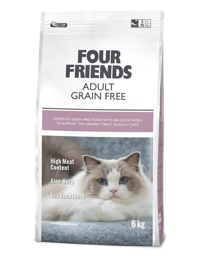 Four Friends Adult Grain Free 6 kg. Spannmålsfritt torrfoder till vuxen katt med hög kötthalt, aloe vera och havtornsextrakt.