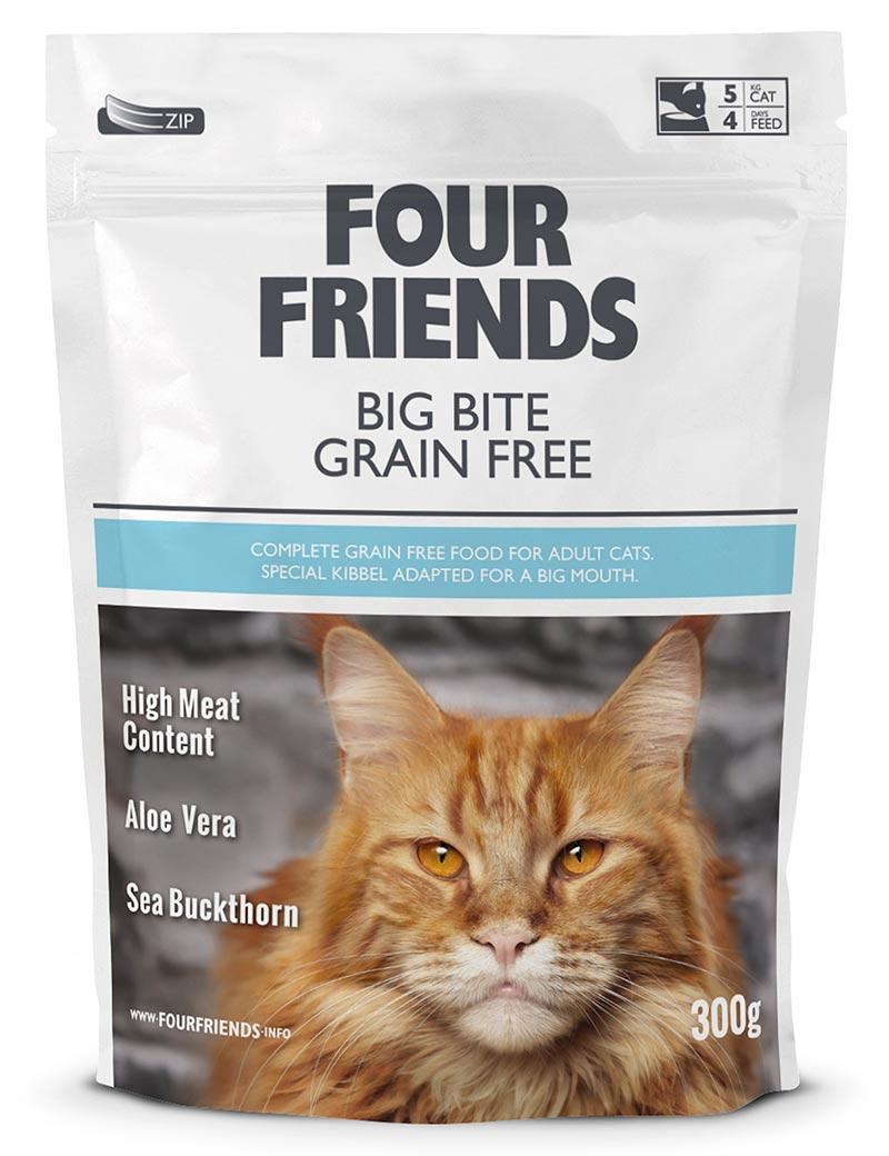 Four Friends Big Bite Grain Free 300 g. Spannmålsfritt torrfoder med lite större bitar för större kattraser med kraftigare käkar.