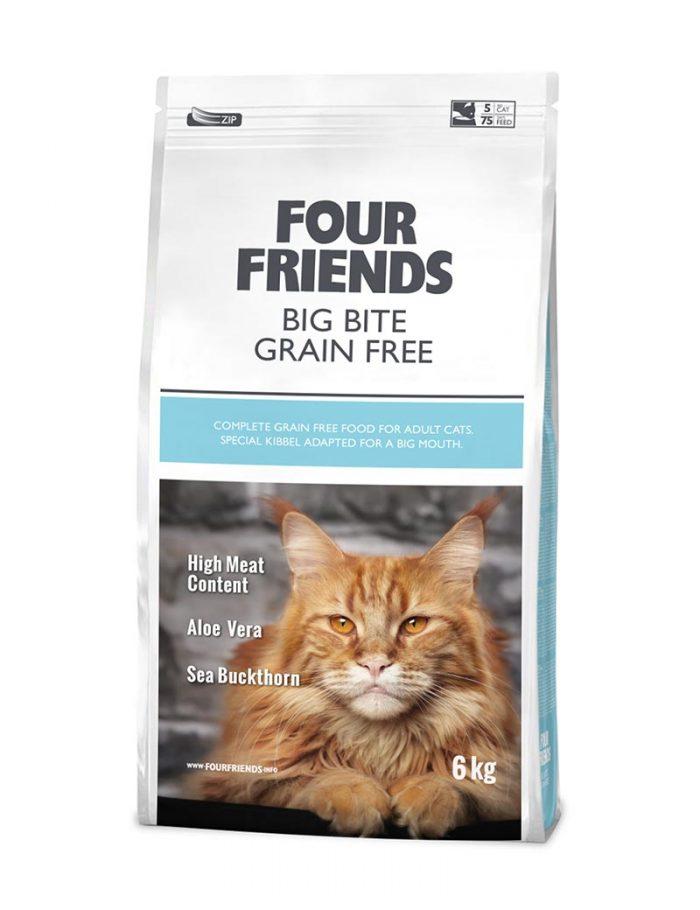 Four Friends Big Bite Grain Free 6 kg. Spannmålsfritt torrfoder med lite större bitar för större kattraser med kraftigare käkar.