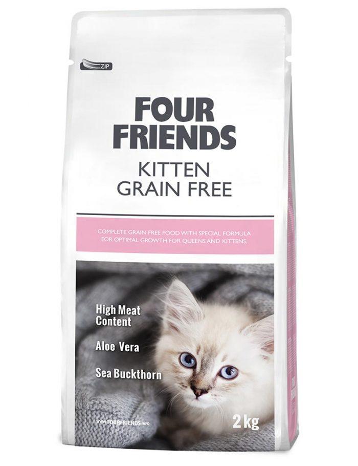 Four Friends Kitten Grain Free 2 kg. Spannmålsfritt torrfoder till kattungar. Hög kötthalt, aloe vera och havtornsextrakt.