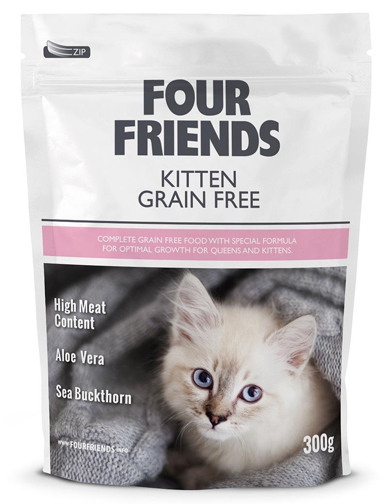 Four Friends Kitten Grain Free 300 g. Spannmålsfritt torrfoder till kattungar. Hög kötthalt, aloe vera och havtornsextrakt.