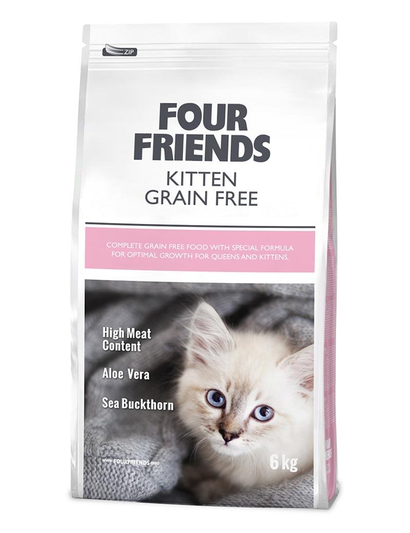 Four Friends Kitten Grain Free 6 kg. Spannmålsfritt torrfoder till kattungar. Hög kötthalt, aloe vera och havtornsextrakt.