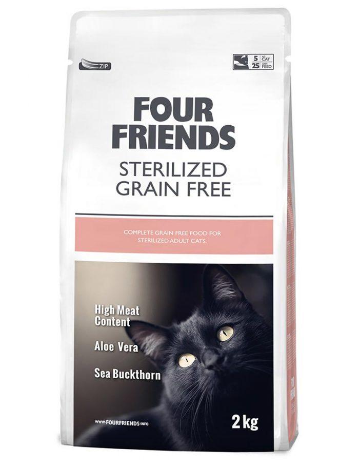 Four Friends Sterilized Grain Free 2 kg. Spannmålsfritt torrfoder till steriliserade katter. Passar även bra för de med hårbollsproblematik.