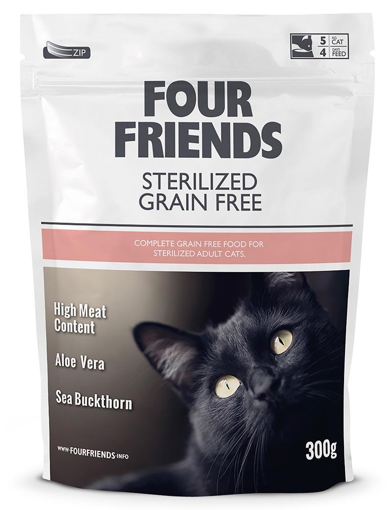 Four Friends Sterilized Grain Free 300 g. Spannmålsfritt torrfoder till steriliserade katter. Passar även bra för de med hårbollsproblematik.