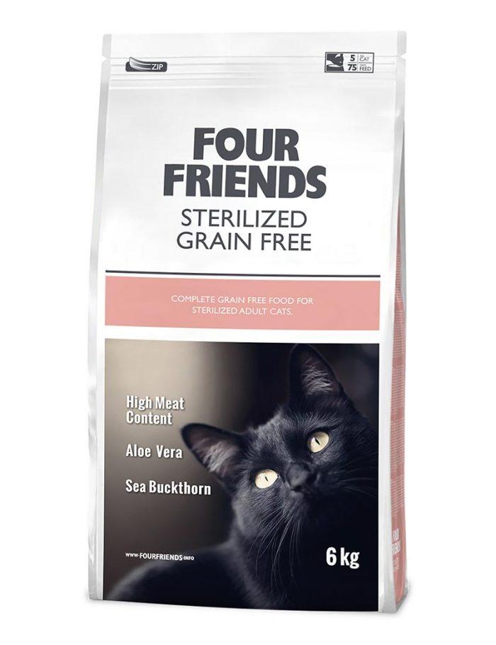 Four Friends Sterilized Grain Free 6 kg. Spannmålsfritt torrfoder till steriliserade katter. Passar även bra för de med hårbollsproblematik.