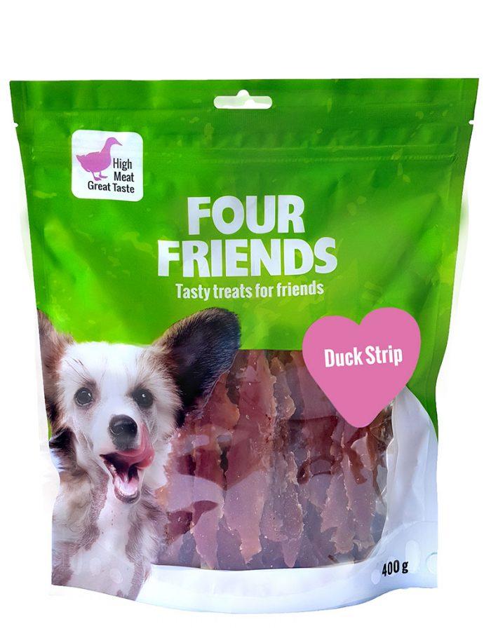 Four Friends Treats 400 g. Tuggremsa med ankkött som belöningsgodis eller träningsgodis till hundar.
