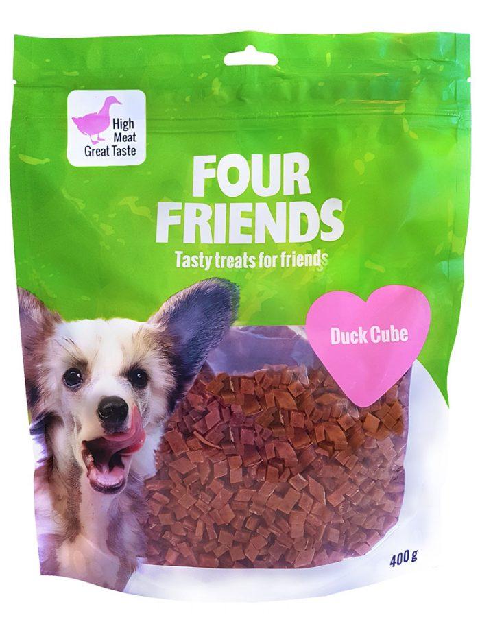 Four Friends Treats 400 g. Kuber med ankkött som belöningsgodis eller träningsgodis till hundar.