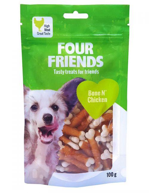 Four Friends Treats 100 g. Tuggpinne med ben och kycklingkött till hundar.
