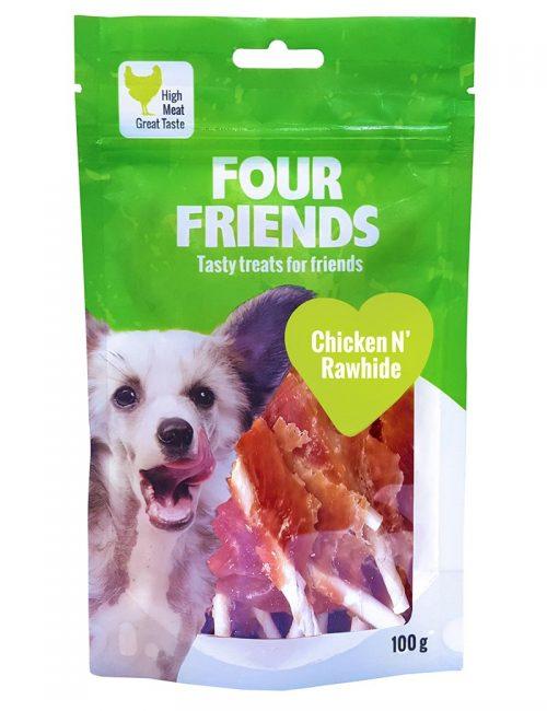 Four Friends Treats 100 g. Tuggben med kycklingkött och kohud som belöningsgodis eller träningsgodis till hundar.