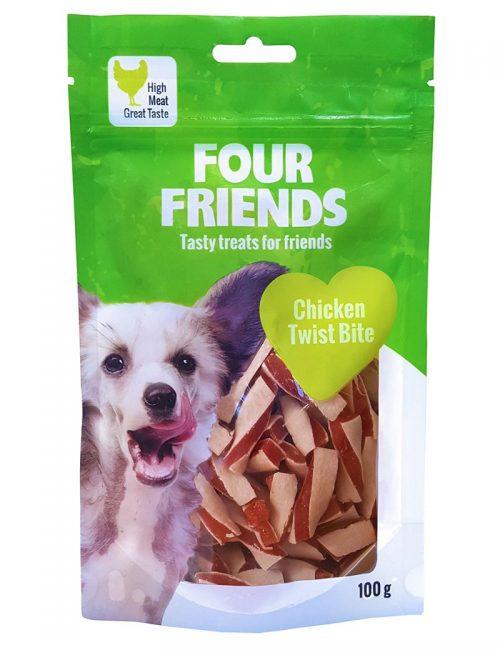 Four Friends Treats 100 g. Belöningsgodis eller träningsgodis för hundar. Brytbara bitar med kycklingkött och fisk.