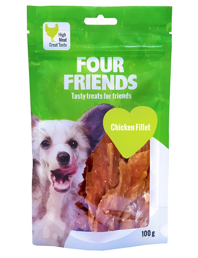 Four Friends Treats 100 g. Remsa med kycklingkött som belöningsgodis eller träningsgodis till hundar.