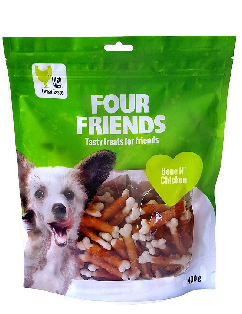 Four Friends Treats 400 g. Tuggpinne med ben och kycklingkött till hundar.