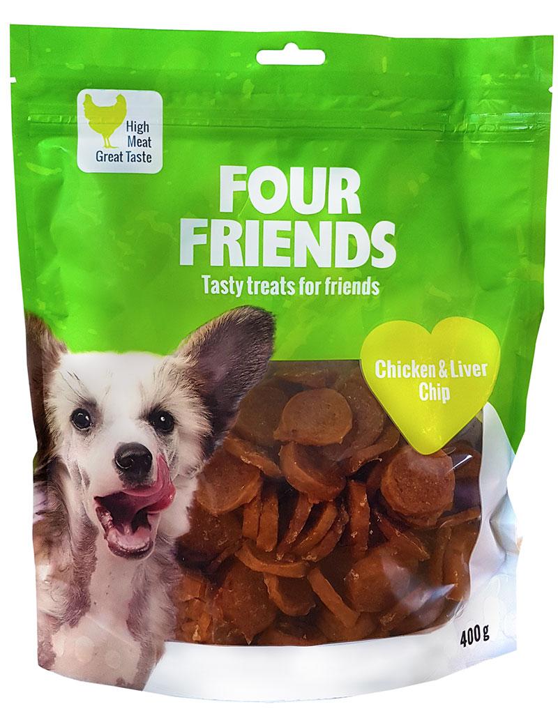 Four Friends Treats 400 g. Mynt med kycklingkött och lever som belöningsgodis eller träningsgodis till hundar.