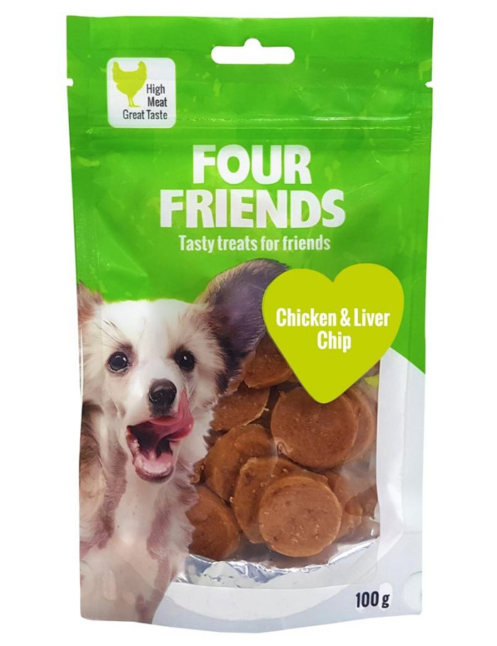 Four Friends Treats 100 g. Mynt med kycklingkött och lever som belöningsgodis eller träningsgodis till hundar.