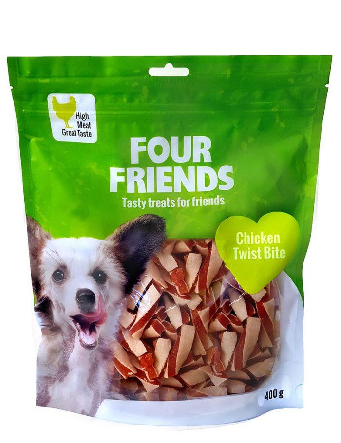 Four Friends Treats 400 g. Belöningsgodis eller träningsgodis för hundar. Brytbara bitar med kycklingkött och fisk.