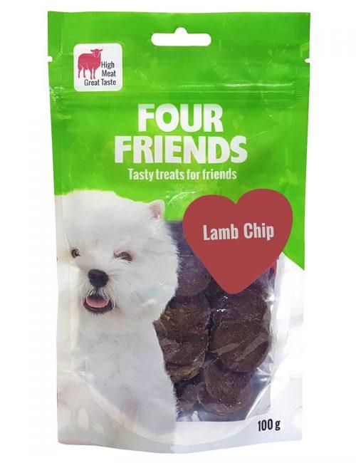 Four Friends Treats 100 g. Mynt med lammkött som belöningsgodis eller träningsgodis till hundar.