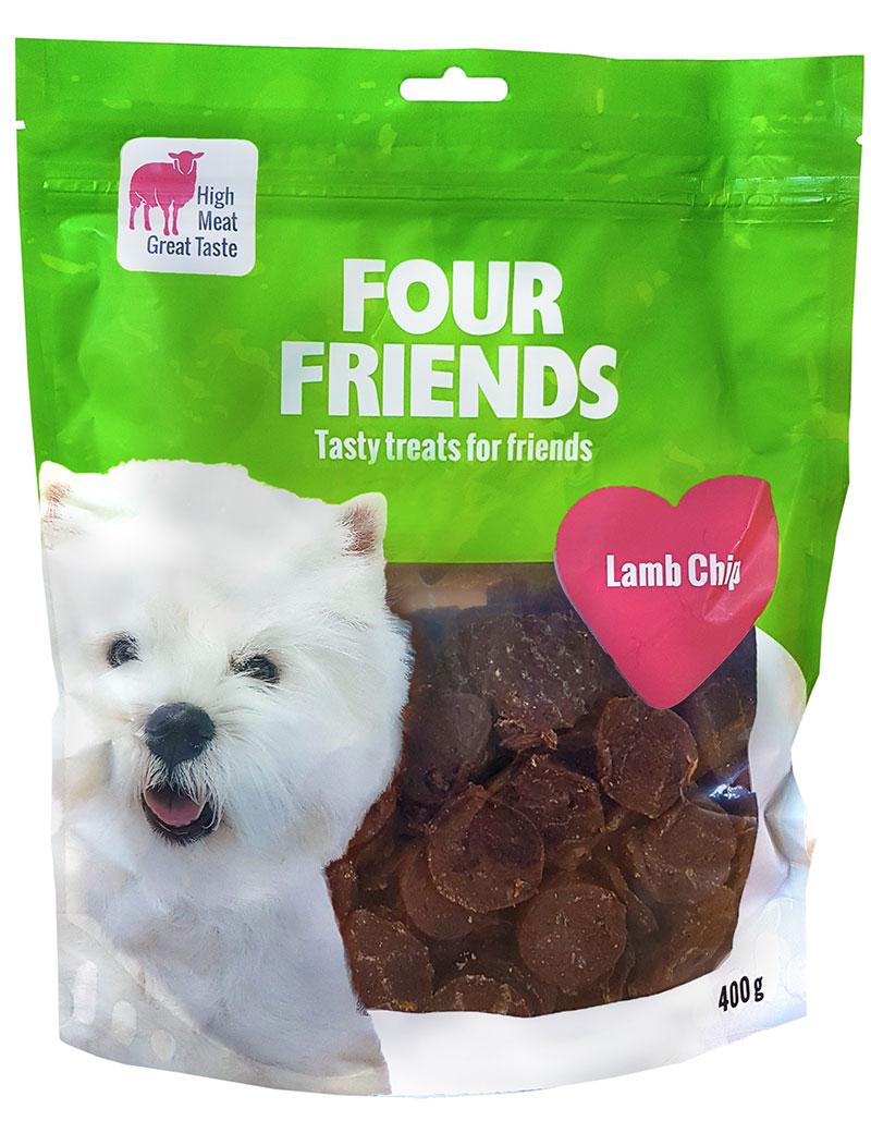 Four Friends Treats 400 g. Mynt med lammkött som belöningsgodis eller träningsgodis till hundar.