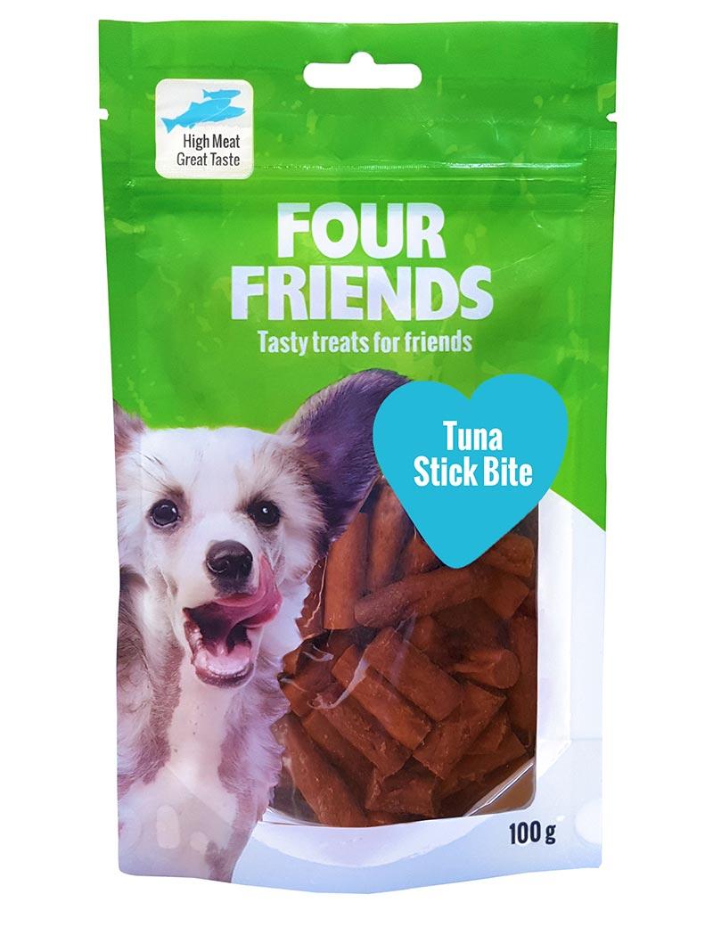 Four Friends Treats, Tuna Stick Bite 100 g. Belöningsgodis eller träningsgodis för hundar. Brytbara bitar med tonfisk och kycklingkött.
