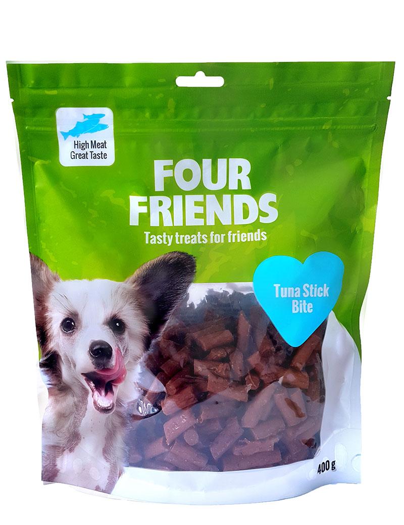 Four Friends Treats, Tuna Stick Bite 400 g. Belöningsgodis eller träningsgodis för hundar. Brytbara bitar med tonfisk och kycklingkött.