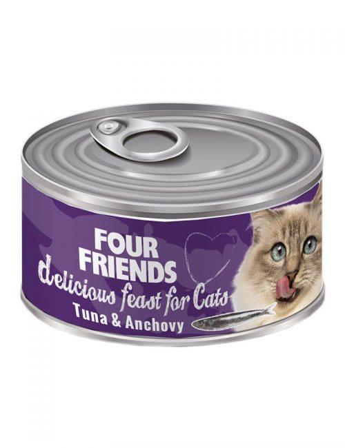 FourFriends Tuna & Anchovy 85 g. Burkmat i konserv för katter. Med tonfisk och ansjovis.