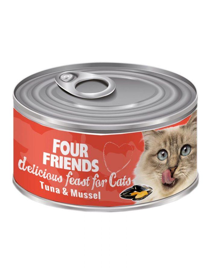 FourFriends Tuna & Mussel 85 g. Burkmat i konserv för katter. Med tonfisk och musslor.
