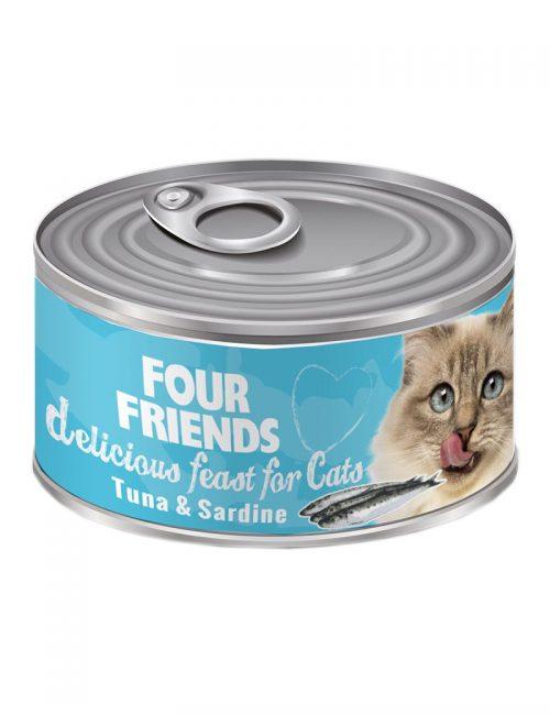 FourFriends Tuna & Sardine 85 g. Burkmat i konserv för katter. Med tonfisk och sardiner.
