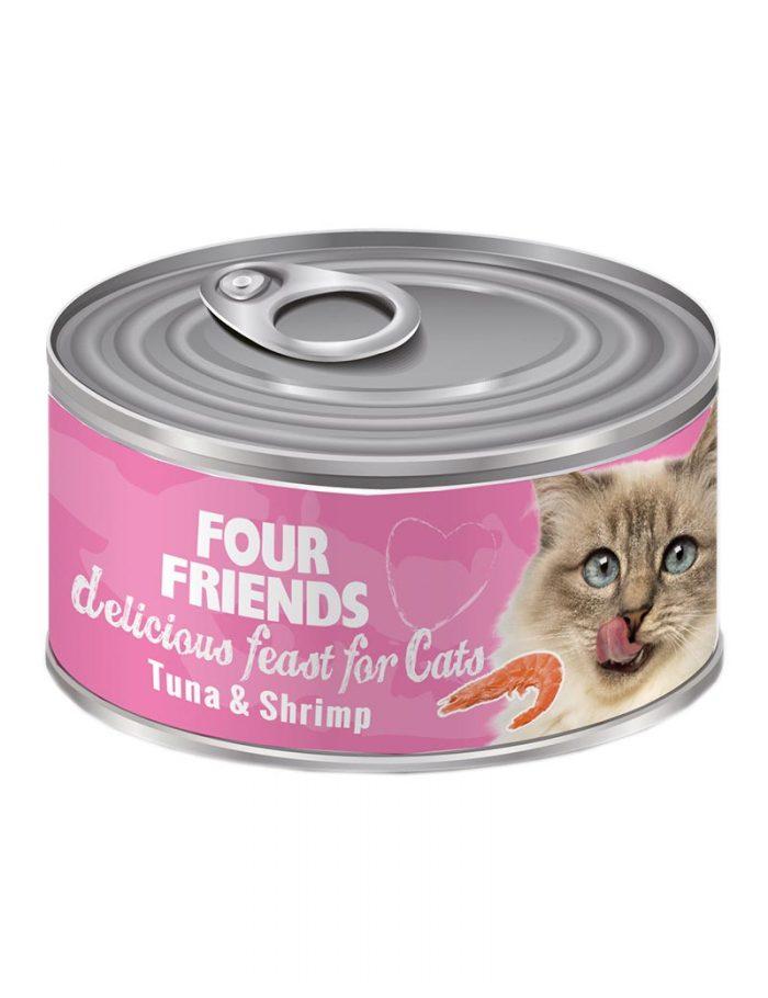 FourFriends Tuna & Shrimp 85 g. Burkmat i konserv för katter. Med tonfisk och räkor.