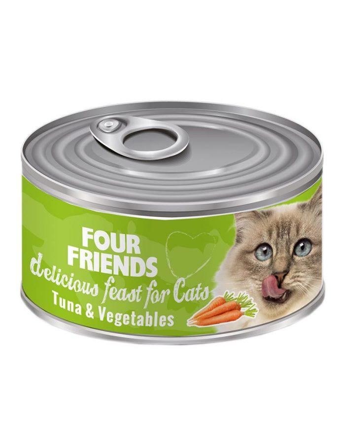 FourFriends Tuna & Vegetables 85 g. Burkmat i konserv för katter. Med tonfisk och grönsaker.