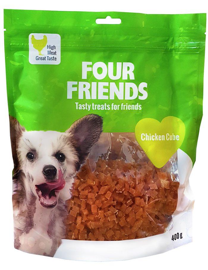Four Friends Treats, Chicken Cube 400 g. Kuber med kycklingkött som belöningsgodis eller träningsgodis till hundar.