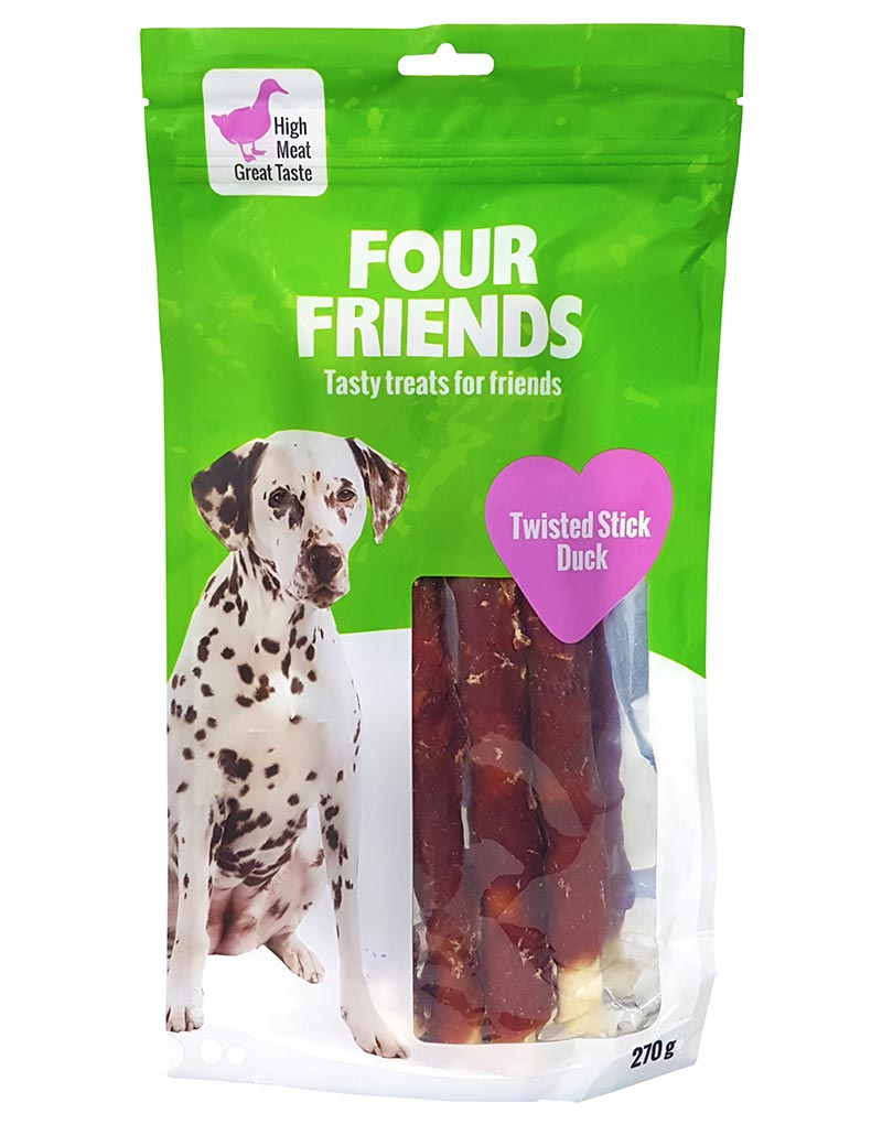 Four Friends Treats, Twisted Stick Duck 25 cm 270 g. Skruvad tuggpinne med ankkött till hundar.