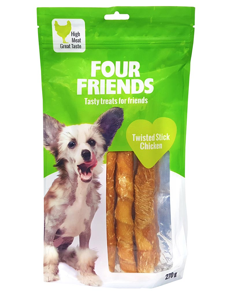 Four Friends Treats, Twisted Stick Chicken 25 cm 270 g. Skruvad tuggpinne med kycklingkött till hundar.