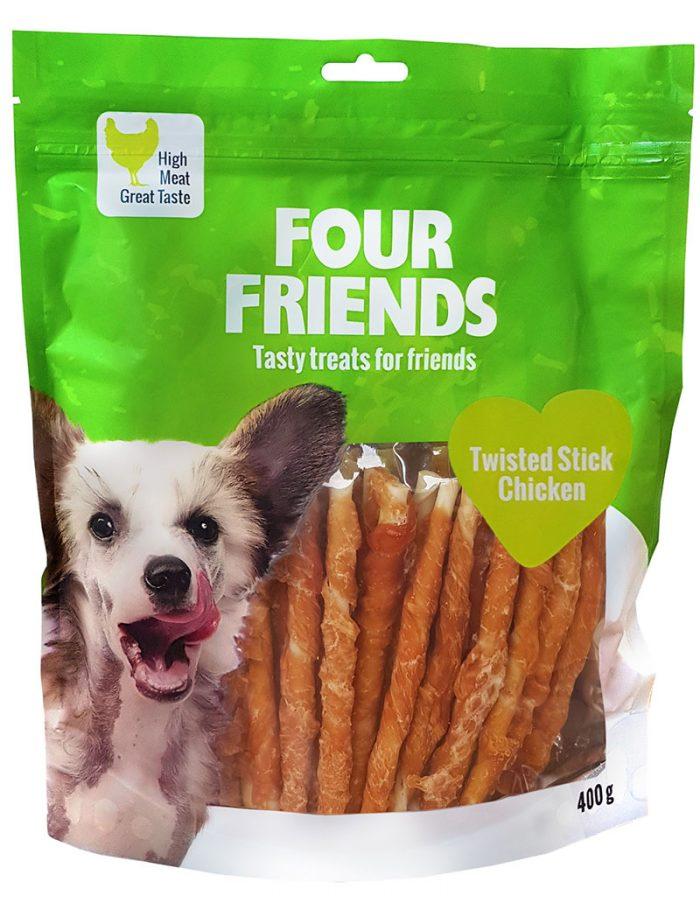 Four Friends Treats, Twisted Stick Chicken 400 g. Skruvad tuggpinne med kycklingkött till hundar.
